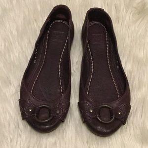 Frye Purple Leather Buckle Round Toe Flats
